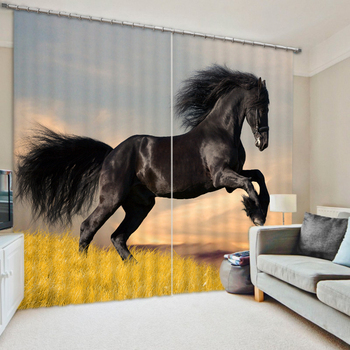 Modern Fashion 3D Blackout Horse Curtains For Kids Children Adults Bedding room Living room Hotel Drapes Cortinas para sala