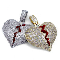 Lucky Sonny Factory Price Broken Heart Necklace Hiphop Men Jewelry Full CZ Iced Out Pendants & Necklaces Rapper Bling Jewellry