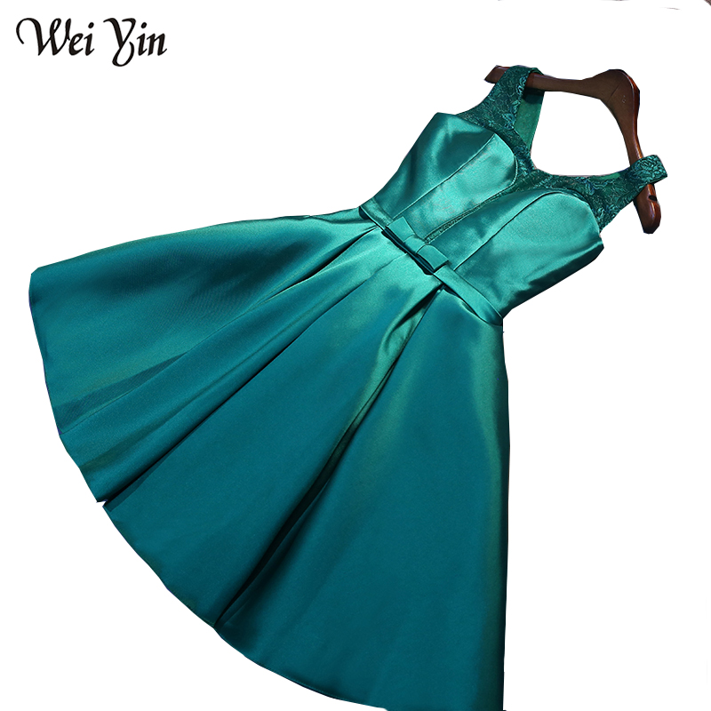 WeiYin Robe De Soiree 2018 V-Neck Short Prom   Dress   Lace A-line   Cocktail     Dress
