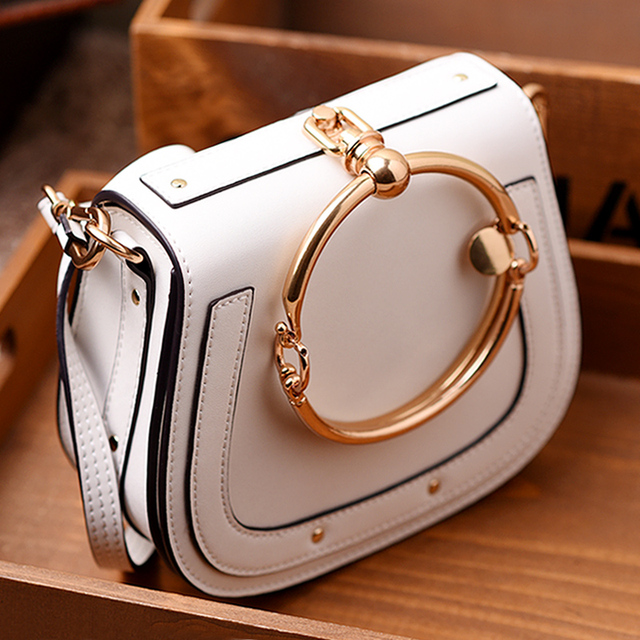 Women Fashion Designer Big Ring Detail Flap Satchel Cross-body Shoulder Handbag Bag WB182
