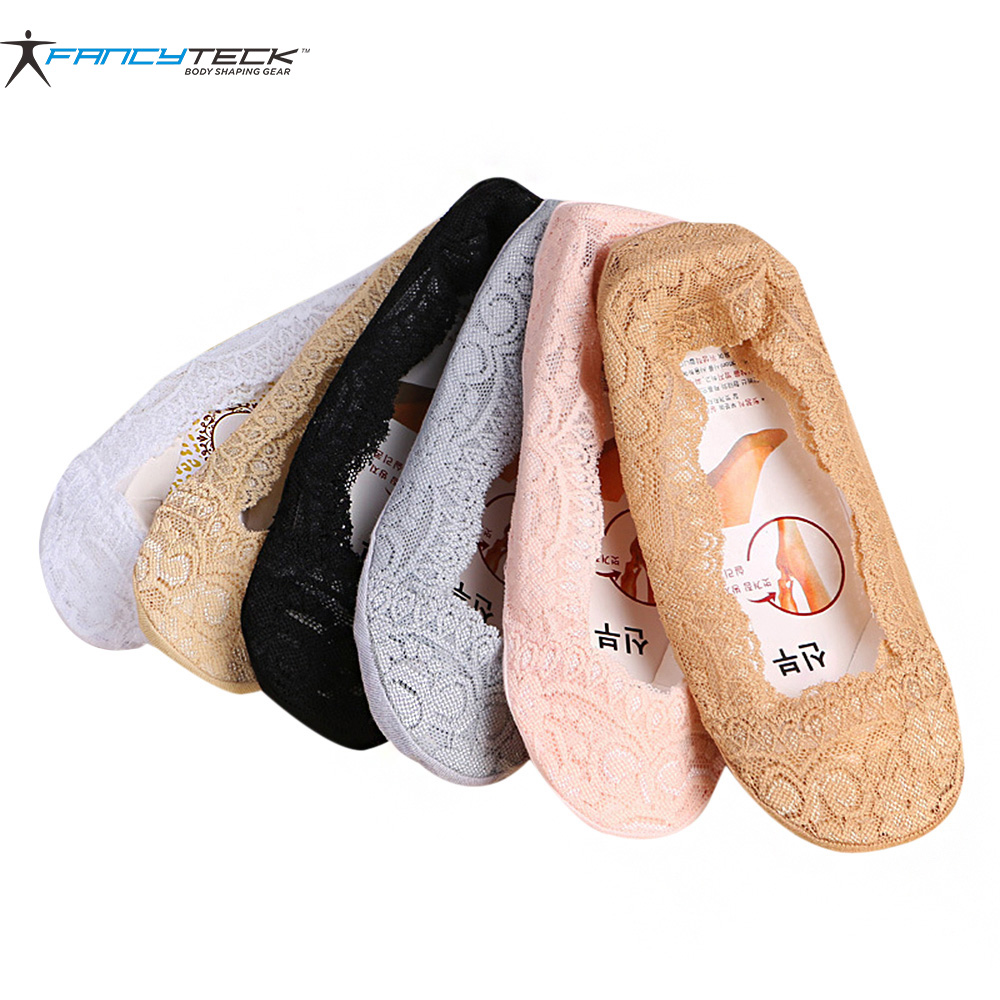 3 Pair Invisible Short Socks Womens Socks Lace Short Ankle Female Silicone Socks Antiskid Invisible Liner No Show Low Cut Socks ...