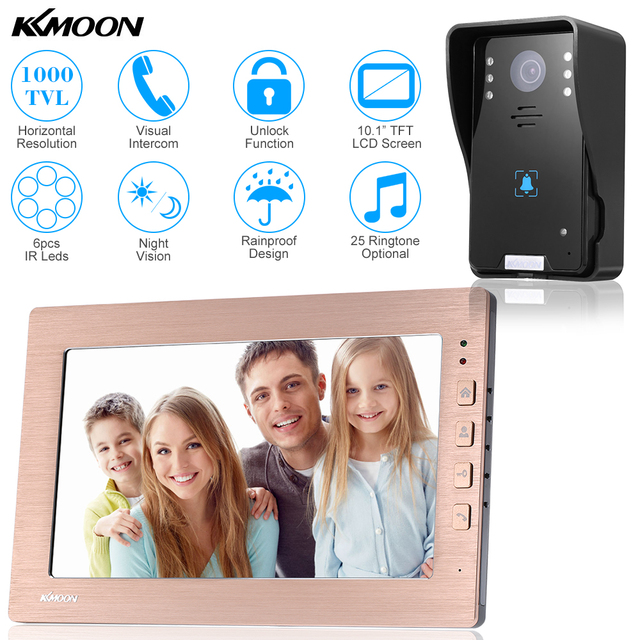 KKmoon 10.1'' TFT LCD Wired Video Door Phone Visual Video Intercom System Waterproof Outdoor Camera Two-way Audio Night Vision