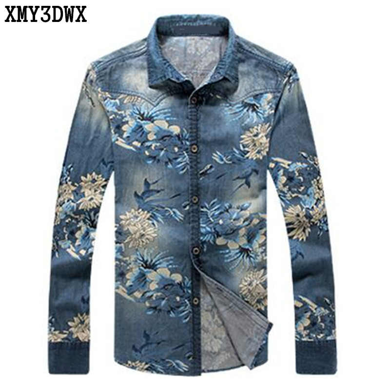2019 Cotton Slim Fit Brand Casual Denim Floral Contrast Color Shirts Long Sleeve Male Cowboy Shirt Camisa Jeans Masculina