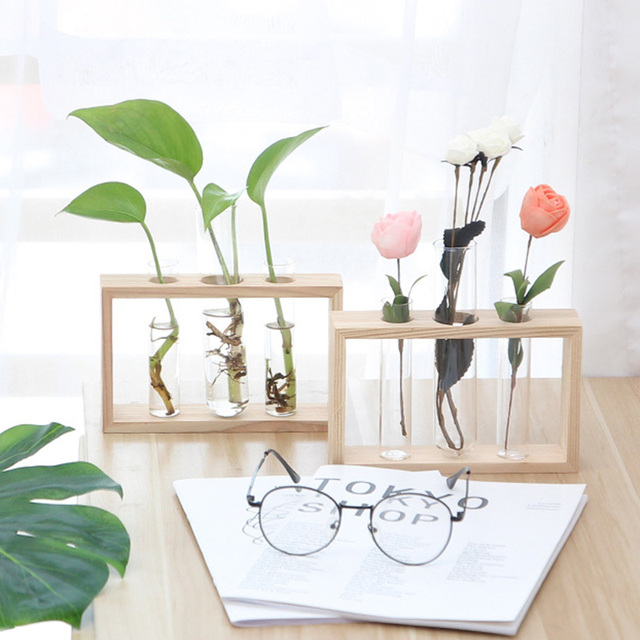 Simple Nordic Glass Flower Vase Tube Bottle Hydroponic Terrarium Container Holder Decor for Bedroom Living Room Home Decoration 4