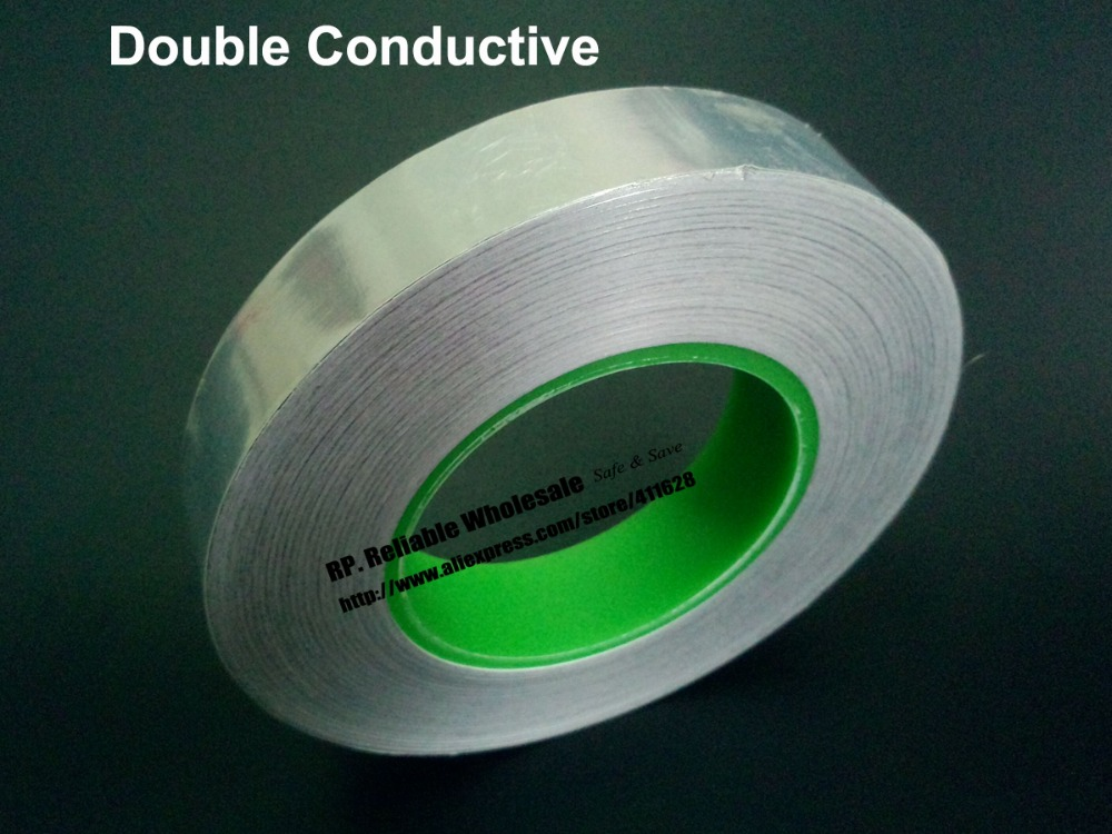 0.06mm Thick, 10mm*50M Double Sided Conductive, Single Adhesive, Aluminum Foil EMI Shielding Tape single sided blue ccs foam pad by presta