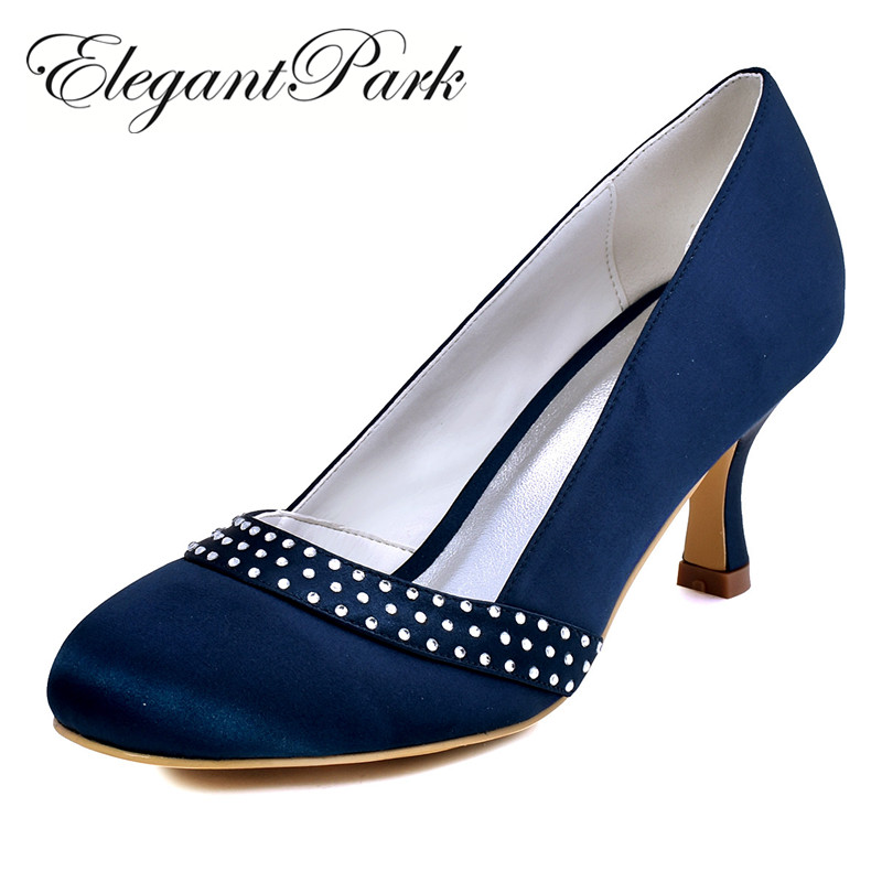 Classic Woman Shoes A0718 Navy Blue Black Round Toe Rhinestone 2.5 Spool Heels Satin Women Pumps Wedding Evening Prom Shoes нож универсальный marttiini lynx lumberjack