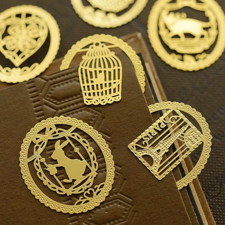 7 Pcs/Lot Gold Leaf Metal Bookmarks For Book Marker Holder Vintage Marcadores De Livro Office Supply Material School