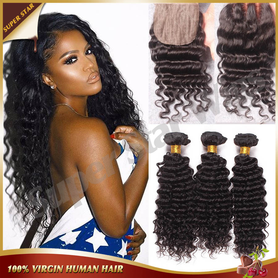 ФОТО Virgin Peruvian Deep Wave Hair With Closure,Peruvian Deep Wave Bundles With Silk Closure,3 Part Silk Base Closure With Bundles
