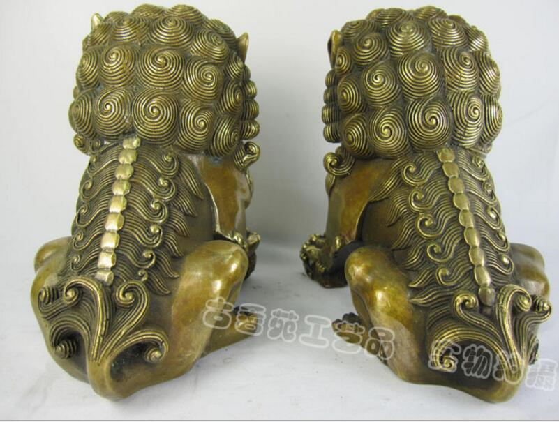 Chinese style ornaments copper brass lions do the old door spirits gifts feng shui ornaments factory direct shipping in Statues Sculptures from Home Garden