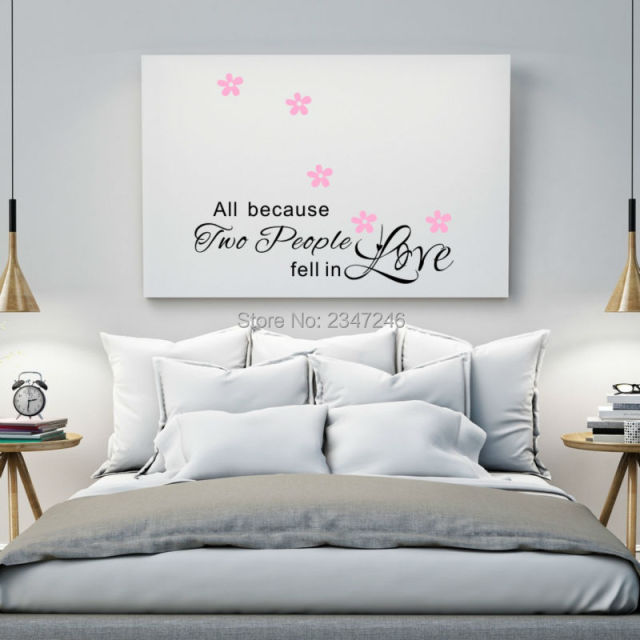 All Because Two People Fell In Love Quotes Wall Stickers Diy Flowers