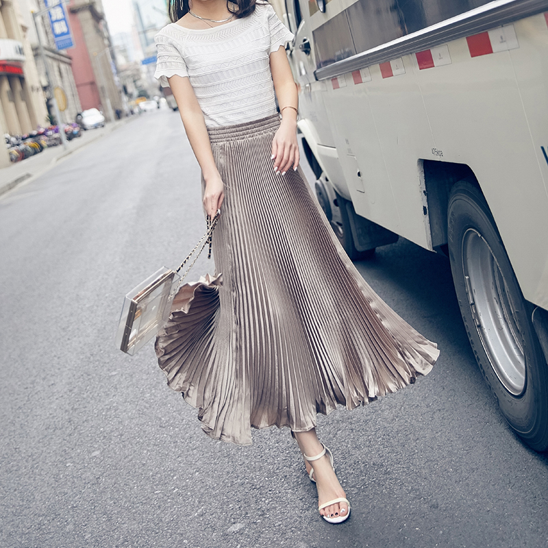 Miyake The metallic color organ summer SKIRT with A pleated skirt long waisted A-line skirt female new spring and summer