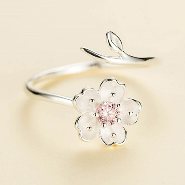 New Fashion Silver Color Poetic Daisy Cherry Blossom Finger Ring For Women Engag