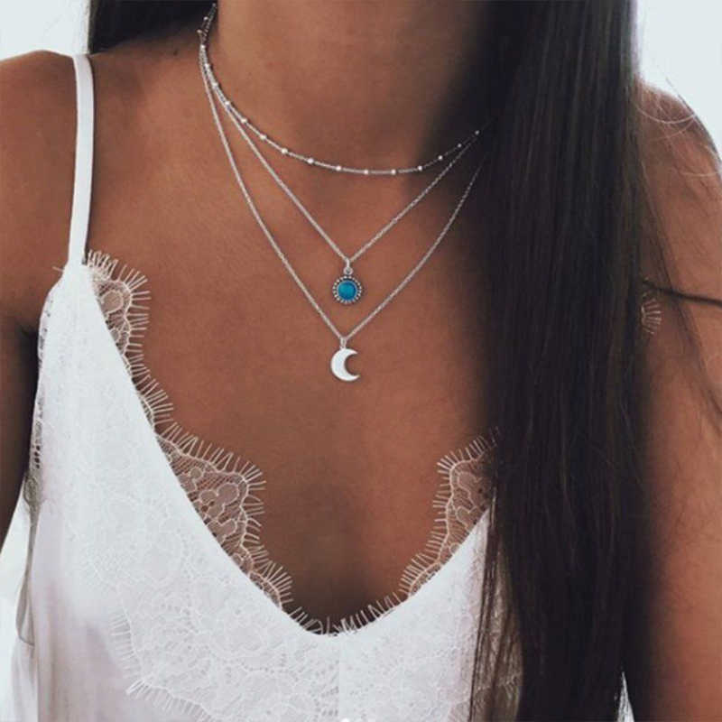 Lalynnlys Bohemian Statement Choker Necklace Antique Silver Moon Crescent Multi-layer Necklace For Women Beach Jewelry N67961