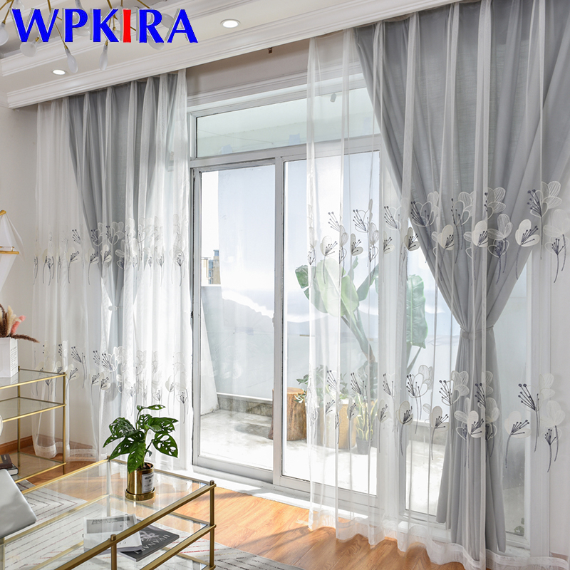 White Transparent Embroidery Curtains Europe Cortinas Dormitorio Tulle Curtain For Living Room Solid Grey Cloth Bedroom WP067-30