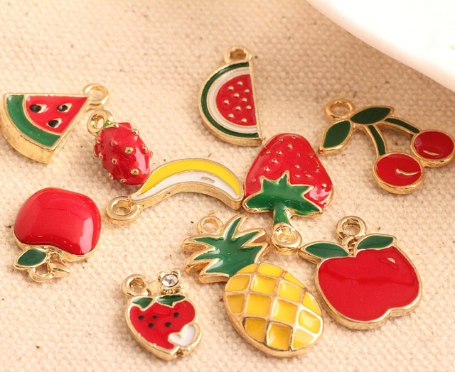 wholesale 100PCS 12-24MM  Fruit Watermelon Stawberry Banna Cherry Pineapple Apple Gold Tone Plated Jewelry bracelet Charms