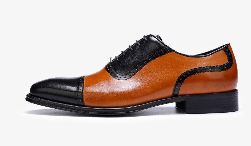 Brogues Echtes Schuhe Wohnungen Herren Leder Lace Für Business Casual up Platz As Mischfarben Zehen Pic Kleid Oxfords Schwarz qywtKyZvF7