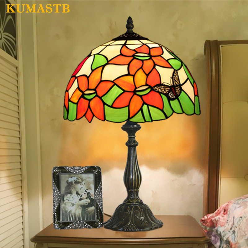 12 дюймов настольная лампа Тиффани Спальня исследование настольная лампа Европейский Винтаж пятнистости Стекло ночники E27 110-240 В