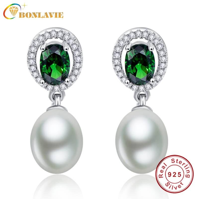 Vintage Oval Cut 4 7ct Emerald Drop Earring Fresh Water Pearl Earrings 925 Sterling Silver Jewelry Dangle Set For Women In From
