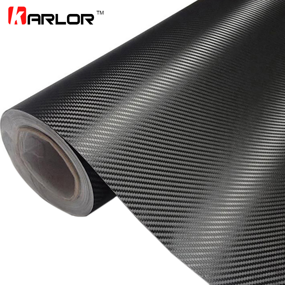 "20/""x 50/"" Black 3D Carbon Fiber Vinyl Car DIY Wrap Sheet Roll Film Sticker Decal"