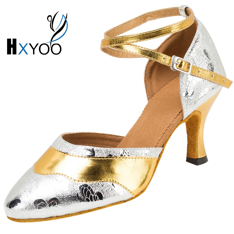 HXYOO 2017 Glossy font b Dance b font Shoes Women Ballroom Latin Soft Sole Shoes Girls