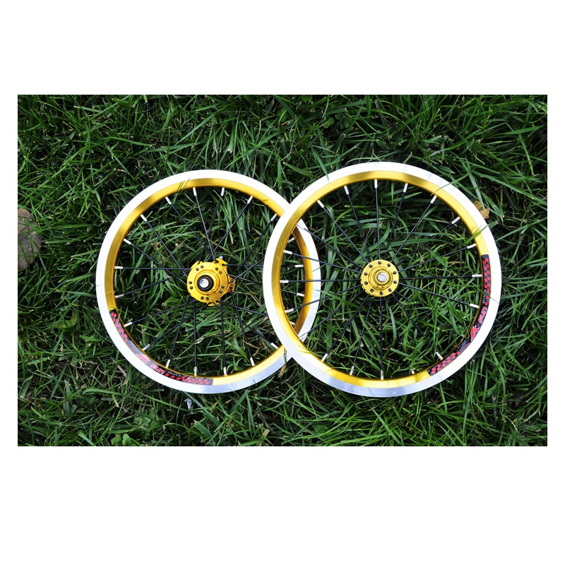 Folding Bike Wheel K-fun 14inch 4 Bearing Hub 9T 10T 20 Hole Wheel Set Lp Spokes Tyre Cushion For sm art 412 410 Modified Parts(China)