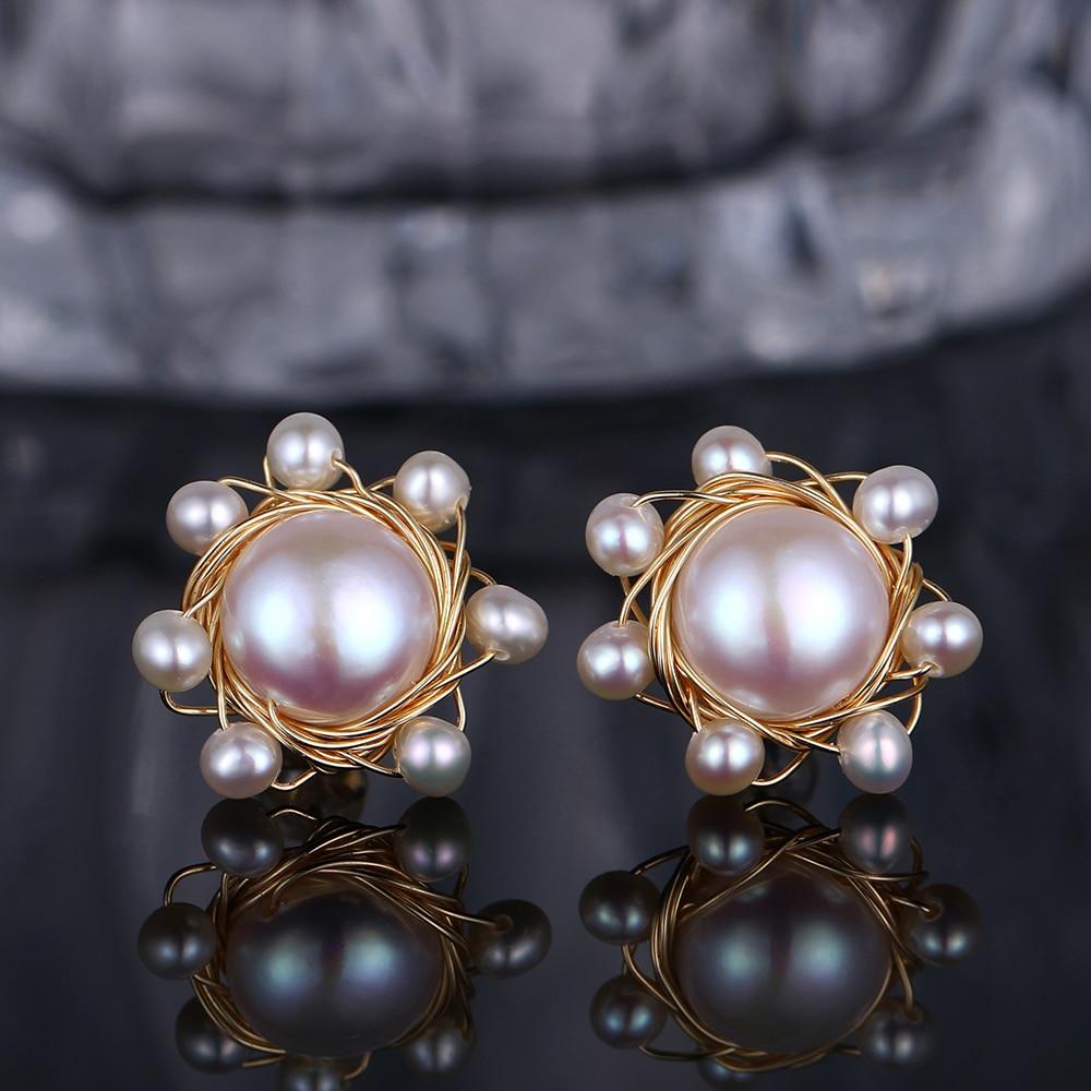 Elegant Natural Freshwater Pearl Stud Earrings 12mm Round White Pearl Earrings 14K Real Gold Wire Wrap Flower Earrings For Women