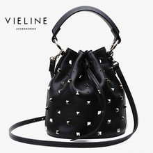 Vieline  women genuine leather bucket bag, cow shoulder bag Rivet ,Design For Milan exhibition