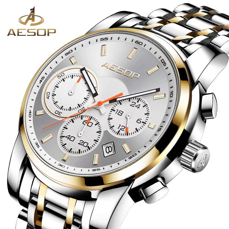 AESOP Watch Men Sport Men's Quartz Wristwatch Male Clock Men Chronograph Waterproof Stainless Steel Man Watch Relogio Masculino