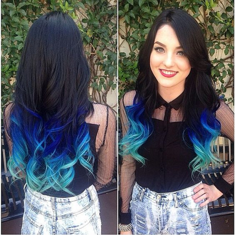Image 2 - Wignee  Synthetic Hair Extension For Black Women Colorful Hair Bundles With Closure 3 Tone Ombre Color Purple/Blue/Grey HairOne Pack   -