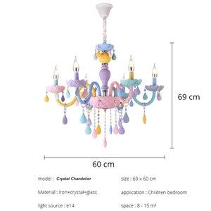 Image 5 - Цветная хрустальная люстра в виде макарона, цветной светильник для детской спальни, креативный Фэнтезийный витражный светильник