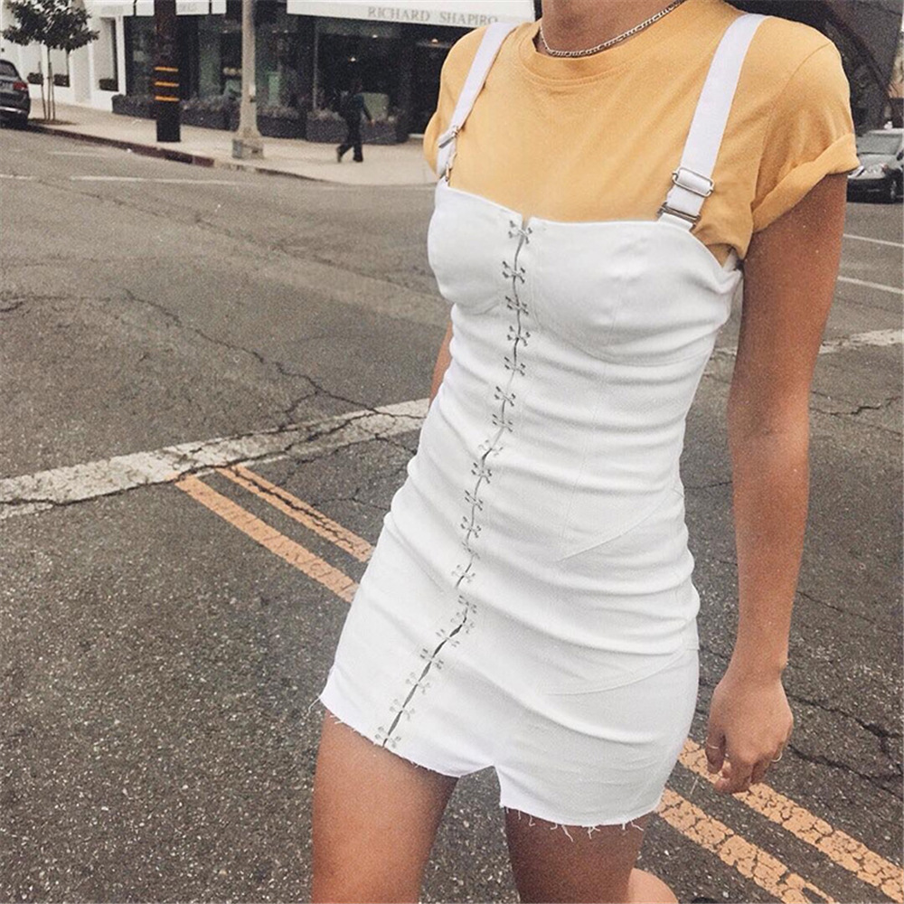 9c3653348fa6 VBTyBL 2018 new arrival sexy dresses woman sexy pencil sleeveless square  collar solid Metal buckle party