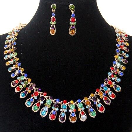 Mutil цвет кристалл свадебные аксессуары 18 К позолоченные женщины ювелирные изделия оптовая продажа имитация алмазный костюм свадебные украшения устанавливает
