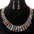 Mutil Color Crystal Bridal accesorios 18 K chapado en oro mujer joyería venta al por mayor imitación del traje del diamante joyería de la boda establece