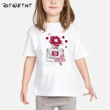 2019 Summer Clothes Baby Girls Flowers Perfume Print T-shirts KidsChildren T shirt White Camisetas  Toddler Tops Kids t shirt женская футболка 3d 2015 t emoji t camisetas flowers