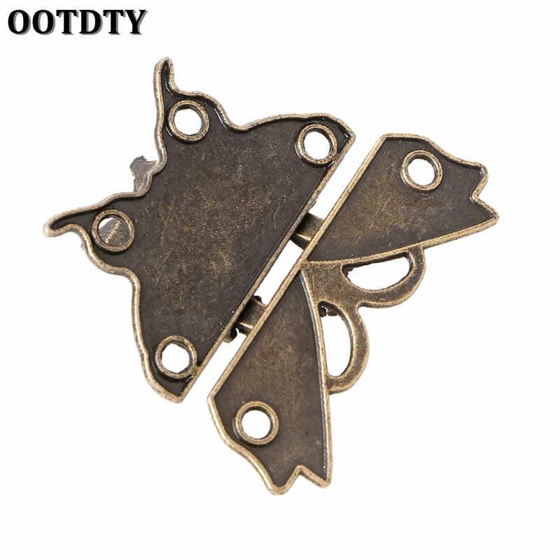 עיצוב פרפר יפה עתיק ברונזה וו תפס מנעול תיבת עץ תכשיטי קבינט מנעולי מקרה אבזם חומרת ידית אבזר