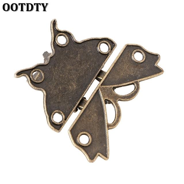 Beautiful Butterfly Design Antique Bronze Hasp Latch Jewelry Wooden Box Lock Cabinet Buckle Case Locks Handle Hardware Accessory Hardware
