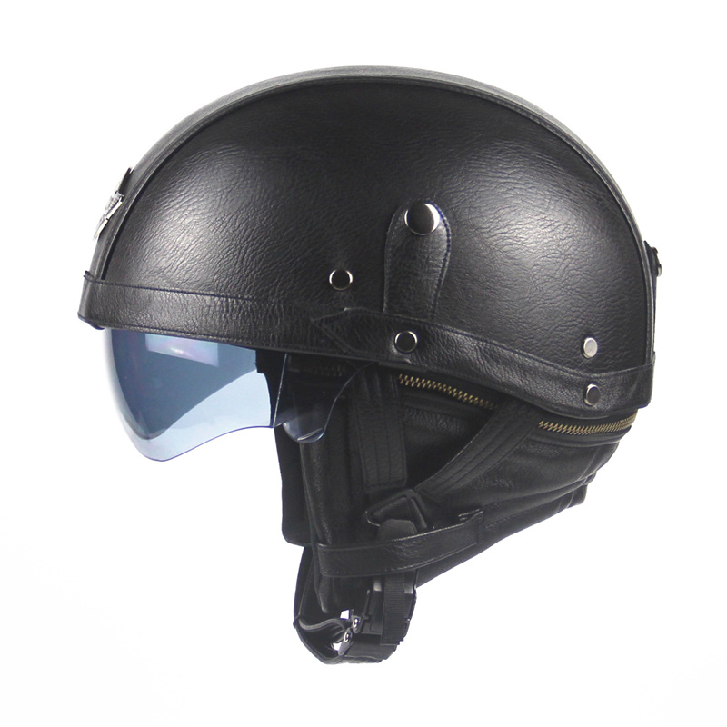 Motorcycle Motorbike Rider Half PU Leather Retro Harley Helmet Visor With Collar Vespa Open Face Half Motor with dual lens