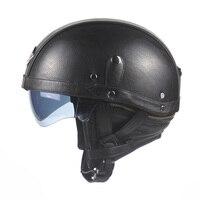 Motorcycle Motorbike Rider Half PU Leather Retro Helmet Visor With Collar Open Face Half Motor with dual lens