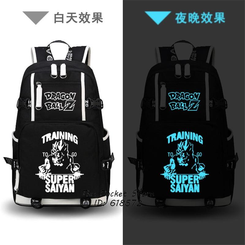 Dragon Ball Super SAIYA Son Goku Luminous Printing Backpack Men Travel Bags Canvas Oxford School Bags