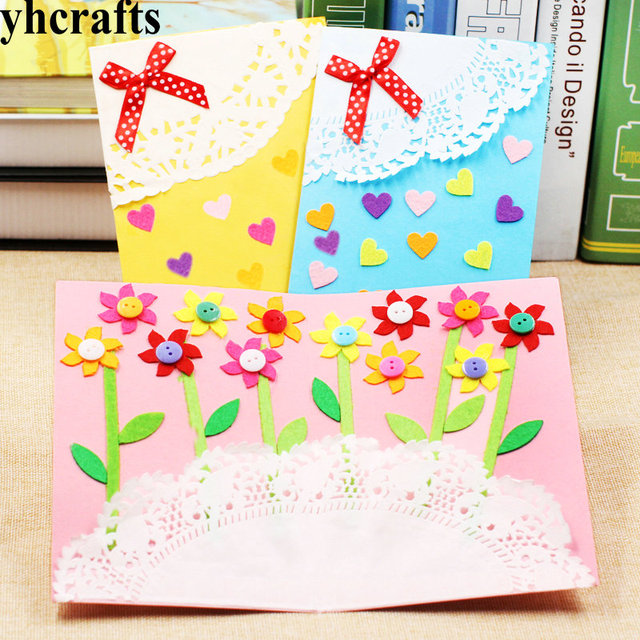 3pcs Lot 3 Design Felt 3d Greeting Cards Craft Kits With Envolope