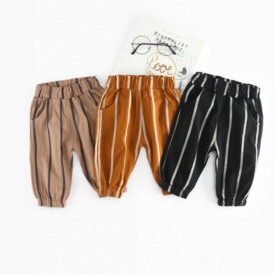 2018 Summer children's clothing girls trousers children's pants boys harem pants striped black yellow gray waist casual pants girls slogan print tee with striped pants