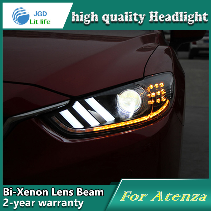 Car Styling Head Lamp case for Mazda6 Aenza Headlights Mazda 6 LED Headlight DRL Lens Double Beam Bi-Xenon HID car Accessories car styling head lamp case for skoda superb 2009 2013 headlights led headlight drl lens double beam bi xenon hid accessories