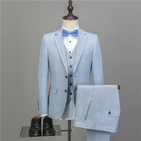 NA45 New Men's Casual Suits Slim Fit Solid Linen Suits Men Top Quality Mens Suits With Pants And Vests Plus Size Tailored Made