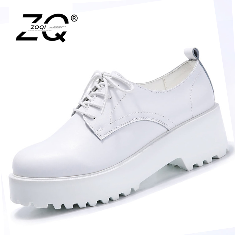 ZOQI 2017 spring women platform shoes women casual shoes leather suede platform shoes women flats ladies lace up creepers X0011 fine zero spring women casual suede genuine leather platform flats tassel wedge slip on ladies creepers shoes red fur winter