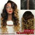 FREE SHIPPING  Glueless Heat Resistant peruvian loose wave Ombre Natural Black To brown Color Synthetic Lace Front Wig