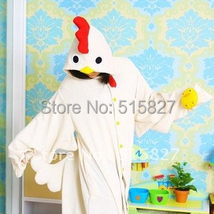 Hot JP Anime Onesie Pajamas Cartoon Chicken Pyjamas Lovely White Rooster Hooded Warm for Unisex in Winter