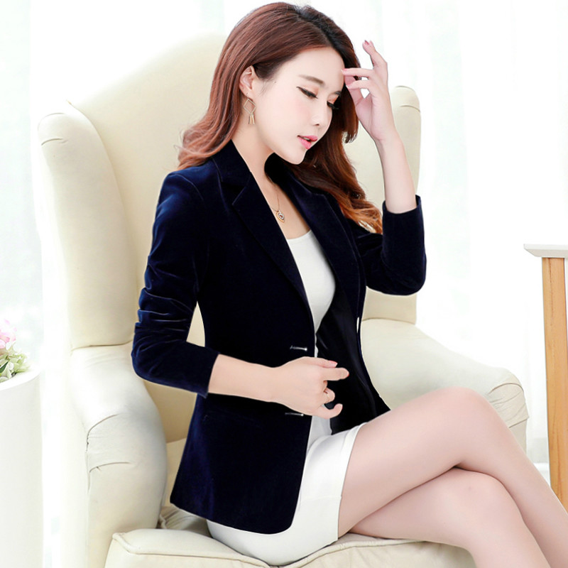 Gold Velvet Suit Jacket Fashion Velvet Long-sleeved OL Temperament Suit Slim Velvet Small Suit Jacket Female 2019 New