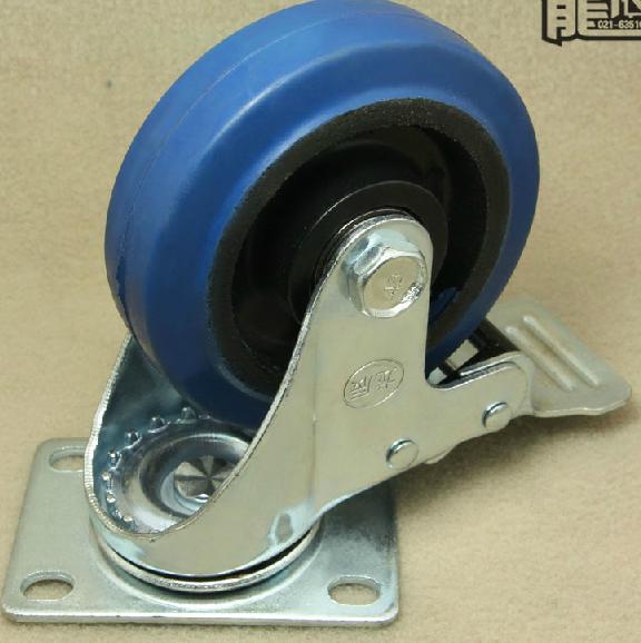 4X Blue Rubber Heavy Duty Wheels Castor Swivel Brake Fixed 3 75mm ys 138no nc ansi standard heavy duty electric strike size 124 x 32 x 33 mm
