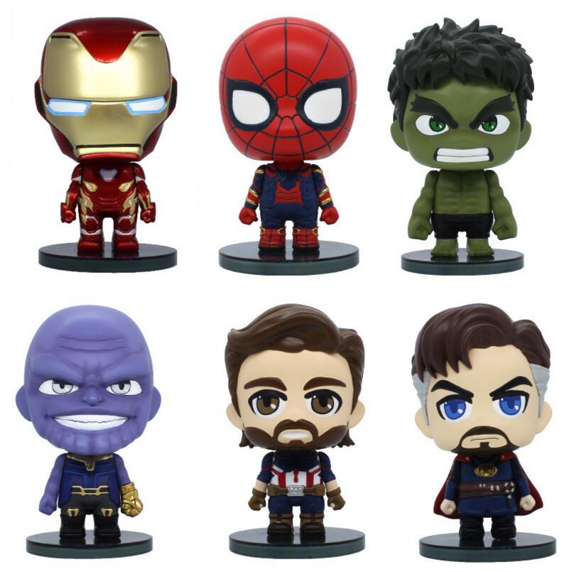 6 pcs set Marvel Avengers Infinity War Hulk Iron Man Spiderman Thanos Captain America Doctor Strange PVC Action Figure Kids Toys avengers age of ultron hulk thor iron man captain america hawkeye black widow quicksilver pvc figure toys 8pcs set