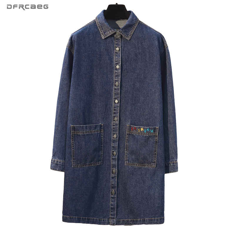 Loose Blue Denim Long   Trench   Coat Women 2019 Fashion Streetwear Jeans Long Coats With Pocket Long Sleeve Plus Size Outwear 5XL